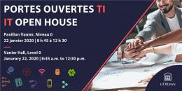 "Banner with text, 'Portes ouvertes TI, IT Open House, Pavillon Vanier, Niveau o. 22 janvier 2020. Vanier Hall, level 0. January 22, 2020, 8:45 am to 12:30 pm"" with various IT icons and a picture of a team with stacked hands on the right. uOttawa logo in bottom right corner"