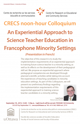 Colloquium: An Experiential Approach to Science Teacher Education in Francophone Minority Settings