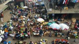 Birds-eye view of an outdoor market in Ghana