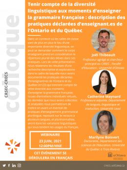 """Conférence du CRSEC du 23 juin 2021 """"Tenir compte de la diversité linguistique aux moments d'enseigner la grammaire française : description des pratiques déclarées d'enseignant.es de l'Ontario et du Québec"""""""""""