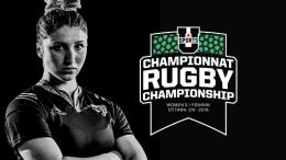 Woman Rugby player with main logo for the championship