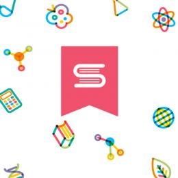 """Collage of science icons surrounding a logo of 2 books representing an """"s""""."""