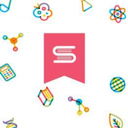 Collage d'icônes scientifiques autour d'un logo de 2 livres représentant un « S ».