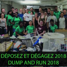 A group of people with items collected during a past Dump and Run event with the text 'Dump and Run 2018'