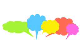Speech balloons of different size and colour.
