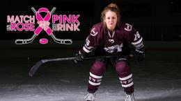 Hockey player with her stick on the ice + Pink the Rink Logo.