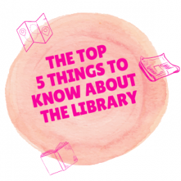 The top 5 things to know about the Library. An icon of a map, newspaper and book.