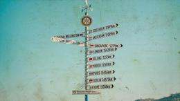 Arrows to different cities in the world