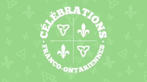 Logo de la journée des célébrations franco-ontariennes orné de fleurs de lys et de trilles. | Logo of Franco-Ontarian day with the fleur-de-lis and green trillium.