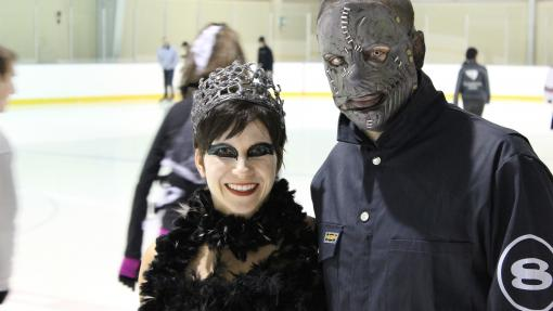Two people disguised in the arena.