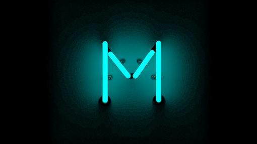 An 'M' in neon blue.